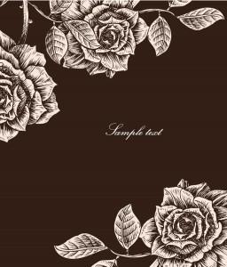 roses card vintage vector