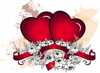 Two grunge hearts with roses vector