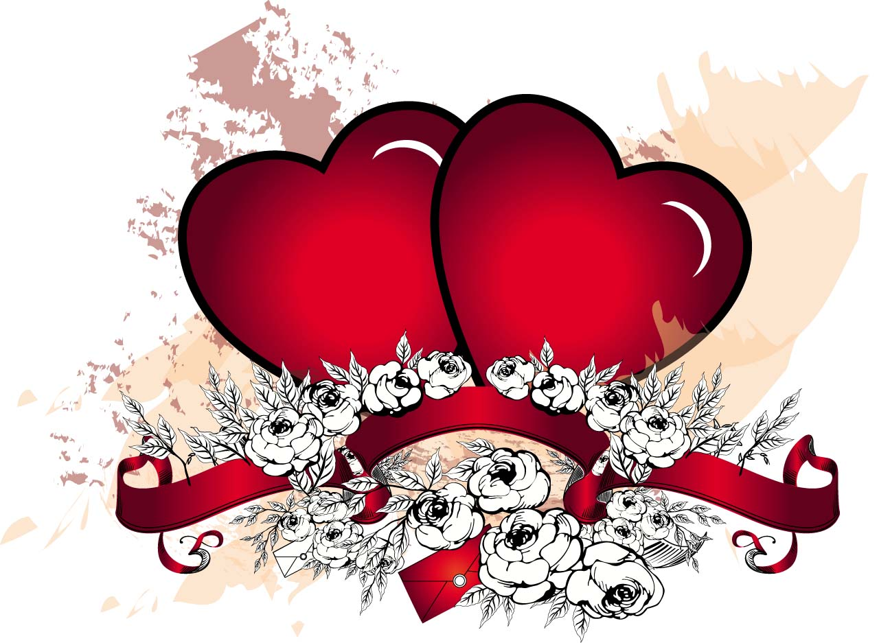 Two grunge hearts with roses vector | Free download