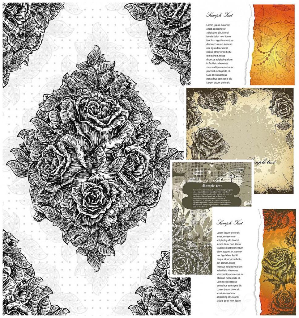 Vintage Floral Borders Vector