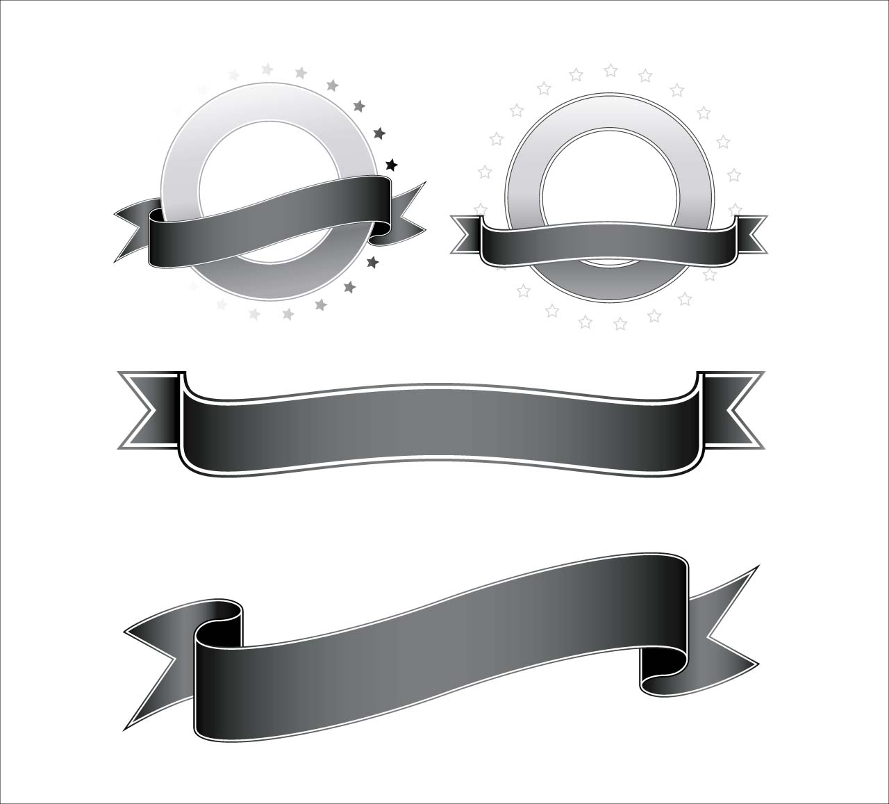 Vintage ribbon set vector