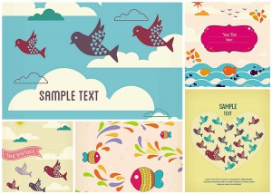 greeting card with birds and fish vector