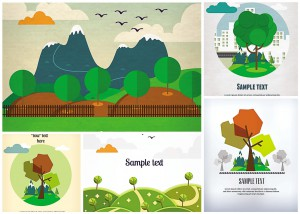 landscapes and mountains card vector