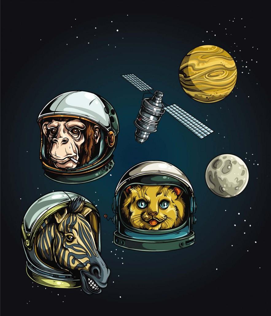 astronauts animals clip art set vector