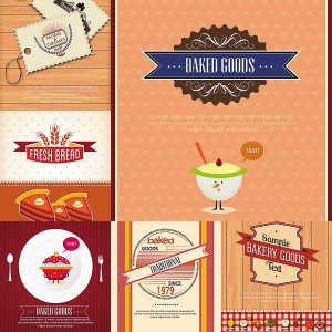 cards for bakery set vector