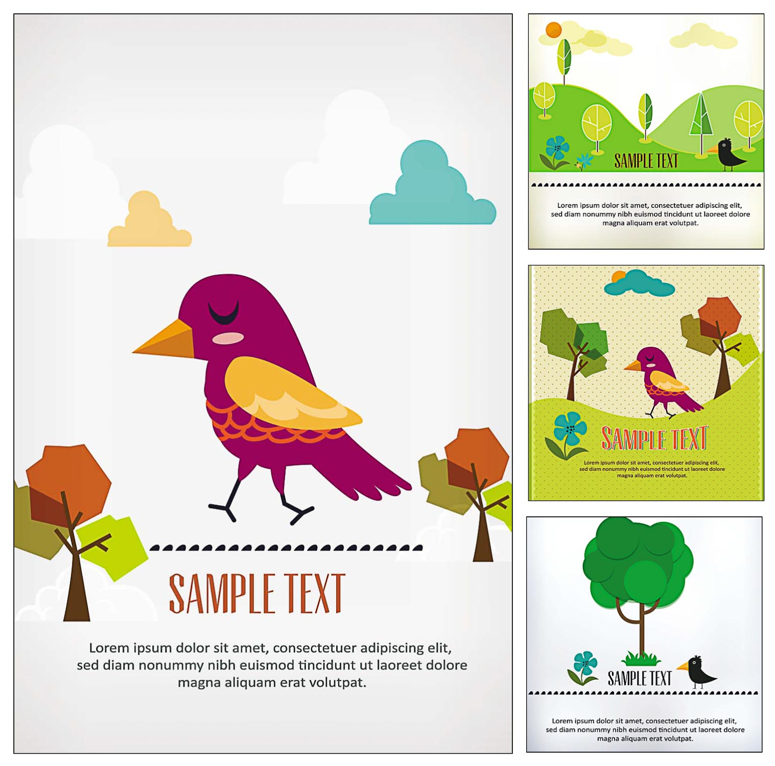 cute birds and trees card vector