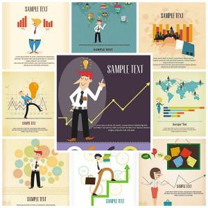 set of 9 cartoon vectors business