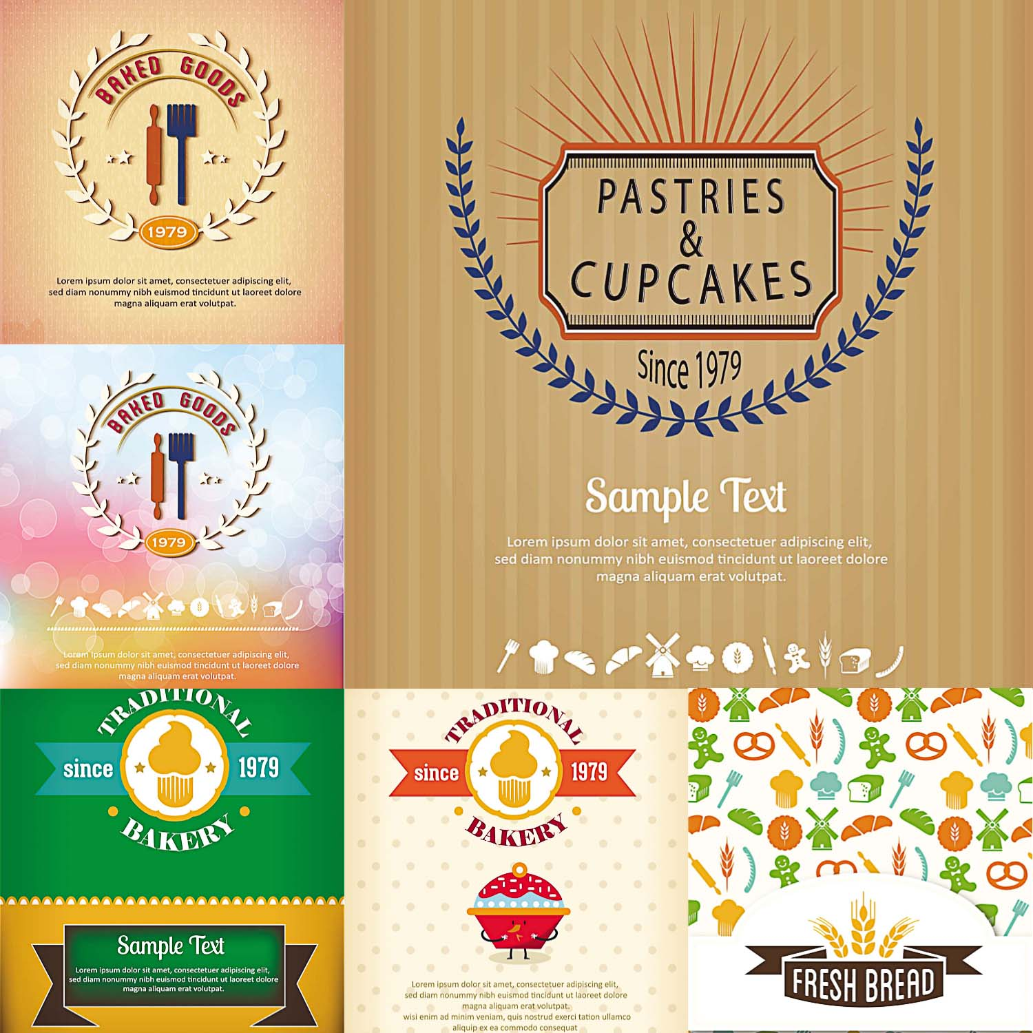 cards for menu and bakery
