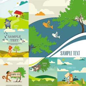 6 set of animals card vector
