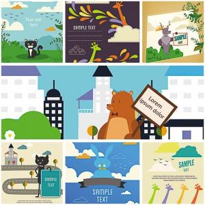 cartoon animals for postcards vector