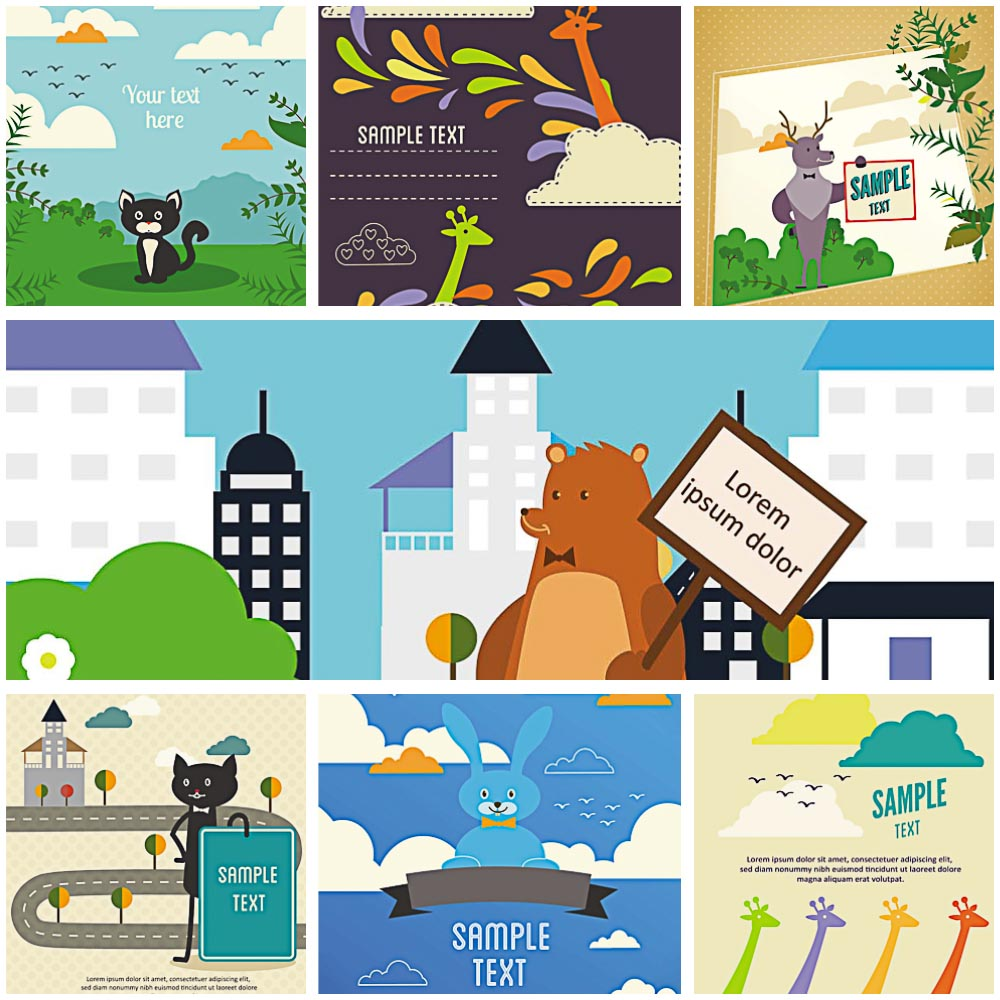 cartoon animals for postcards vector