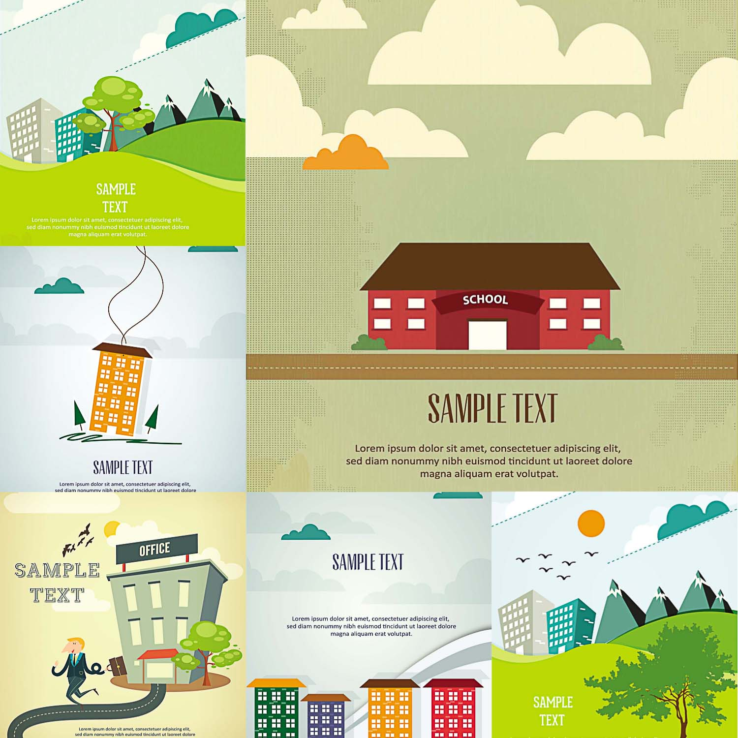 cartoon landscapes and buildings for postcards vector