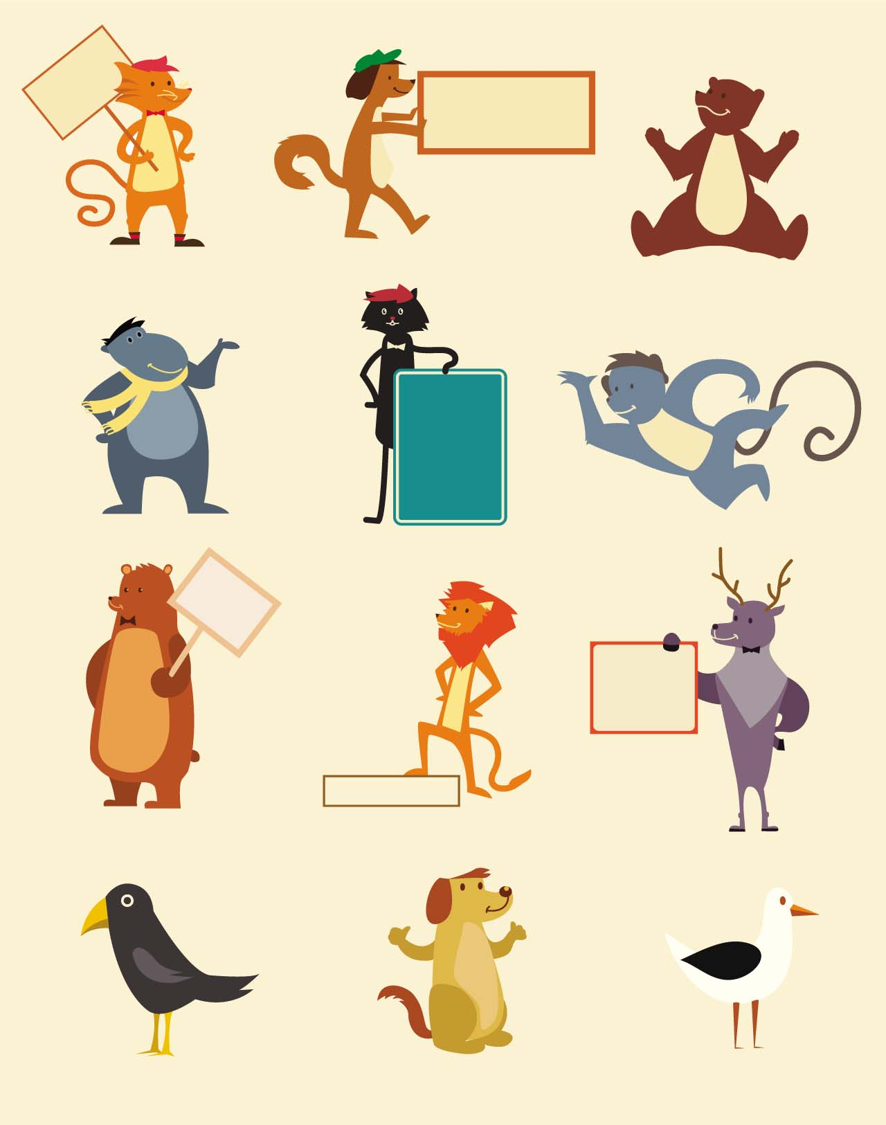 Different cartoon animals with frames card