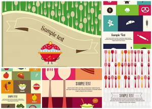 Set of 5 food background vector