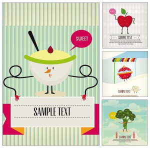 cute food cartoon postcard vector