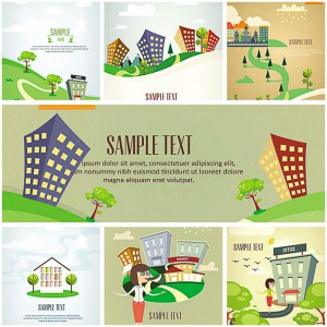 set of 7 cartoon landscapes vector