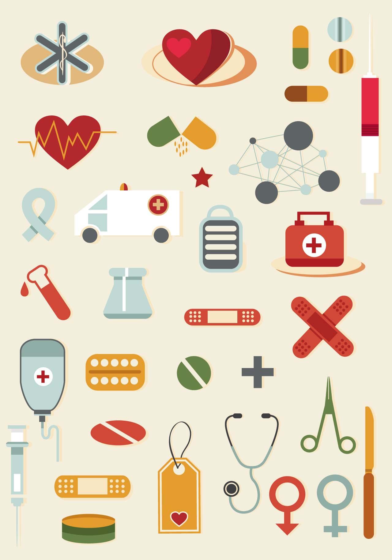 Cartoon medical tools clip art vector