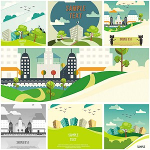 cartoon landscapes and buildings background vector
