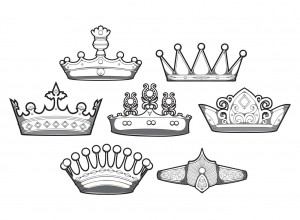 Set of 7 designious crowns