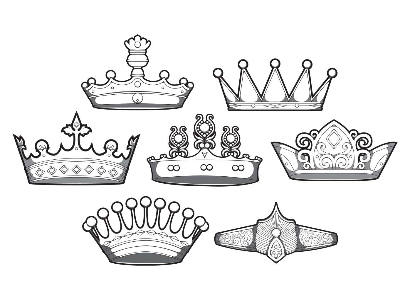 Set of 7 designious crowns