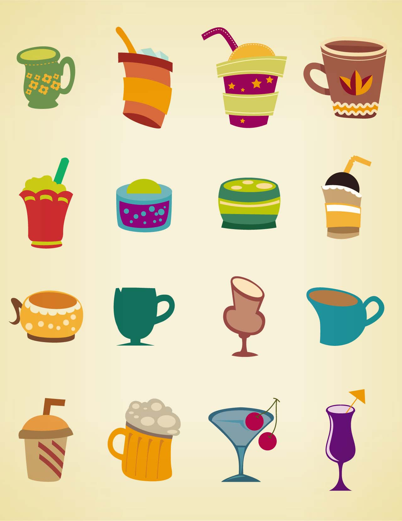 drinks and cups set vector