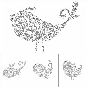 Set of 12 fairy birds vector