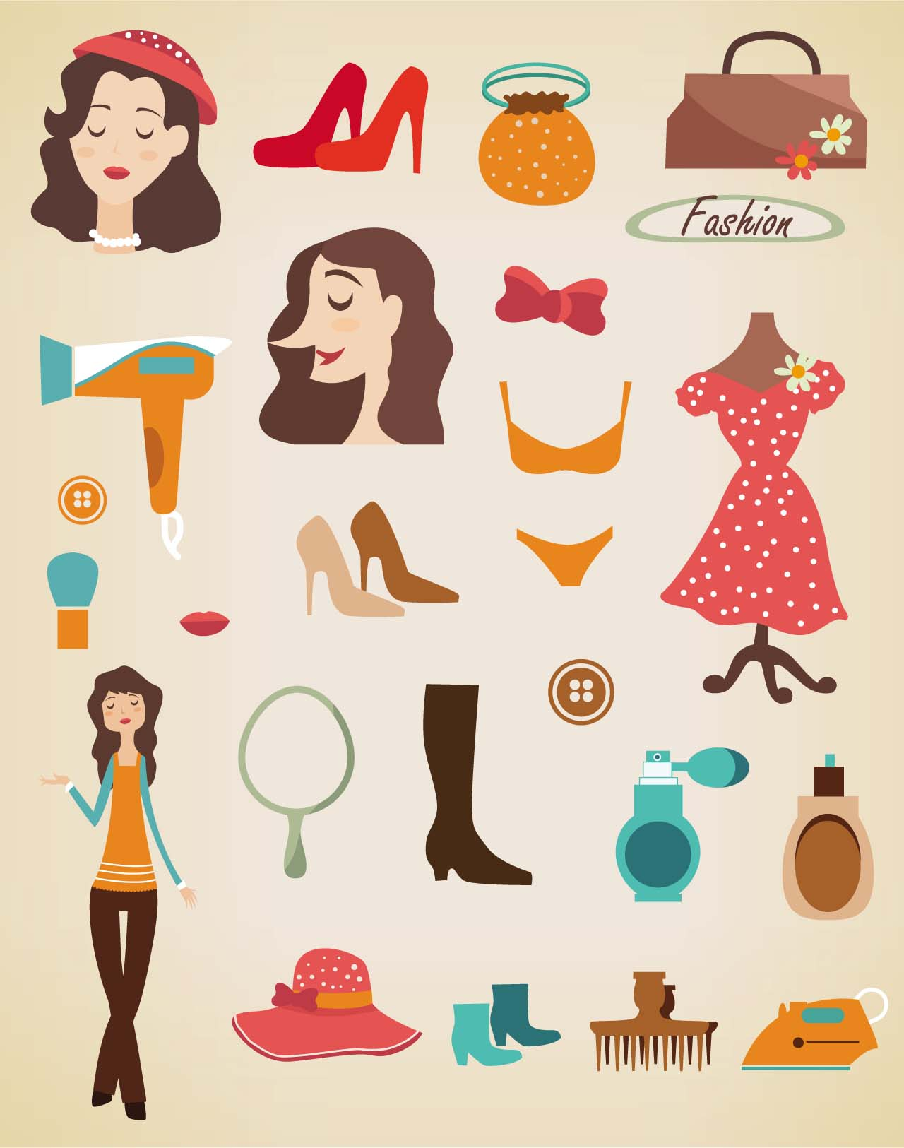 Fashion clothes clip art vector