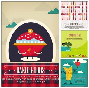 set of 4 food  cards vectors
