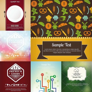 6 food and restaurants menu cards illustrations
