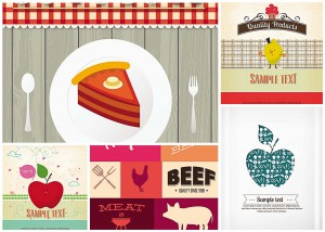 food illustrations for cards and menu