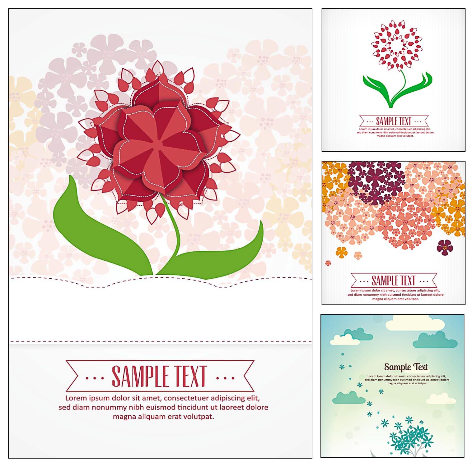 flowers bouquet set vector