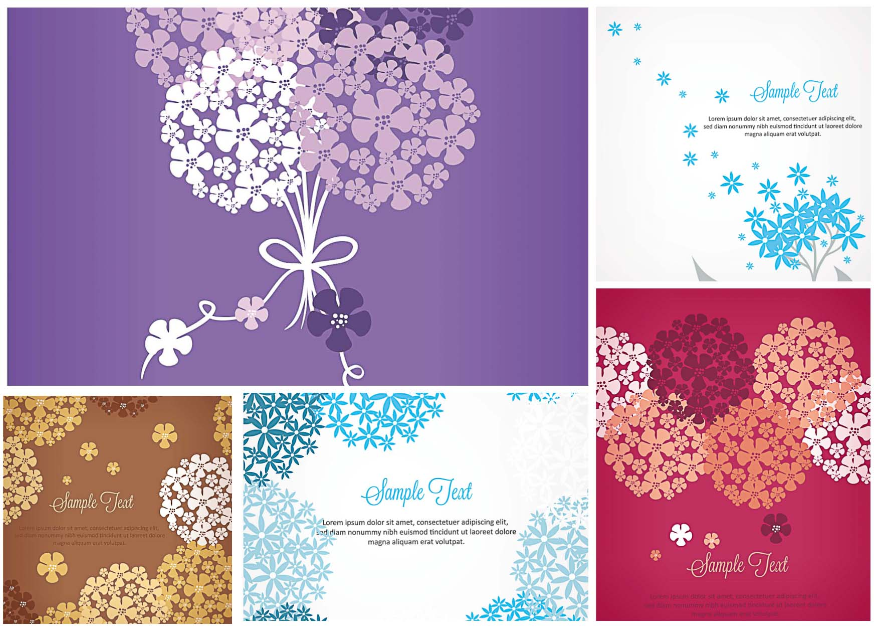 floral bouquets with forget-me-not vector
