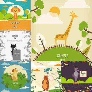 cartoon animals vector background card postcard