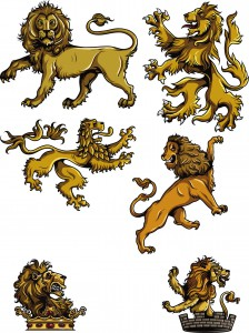 Set of Gothic lions