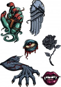 Terrific set with scary gothic elements vector