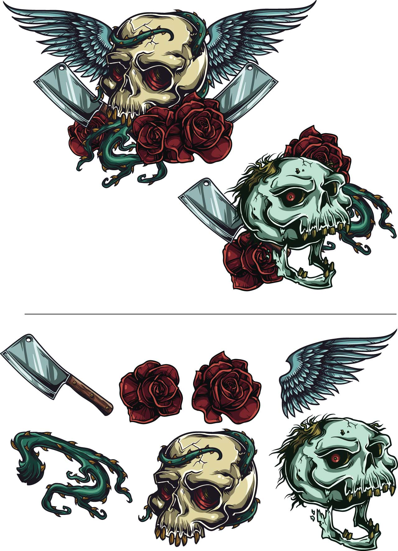 Great Gothic illustration with roses and skulls.