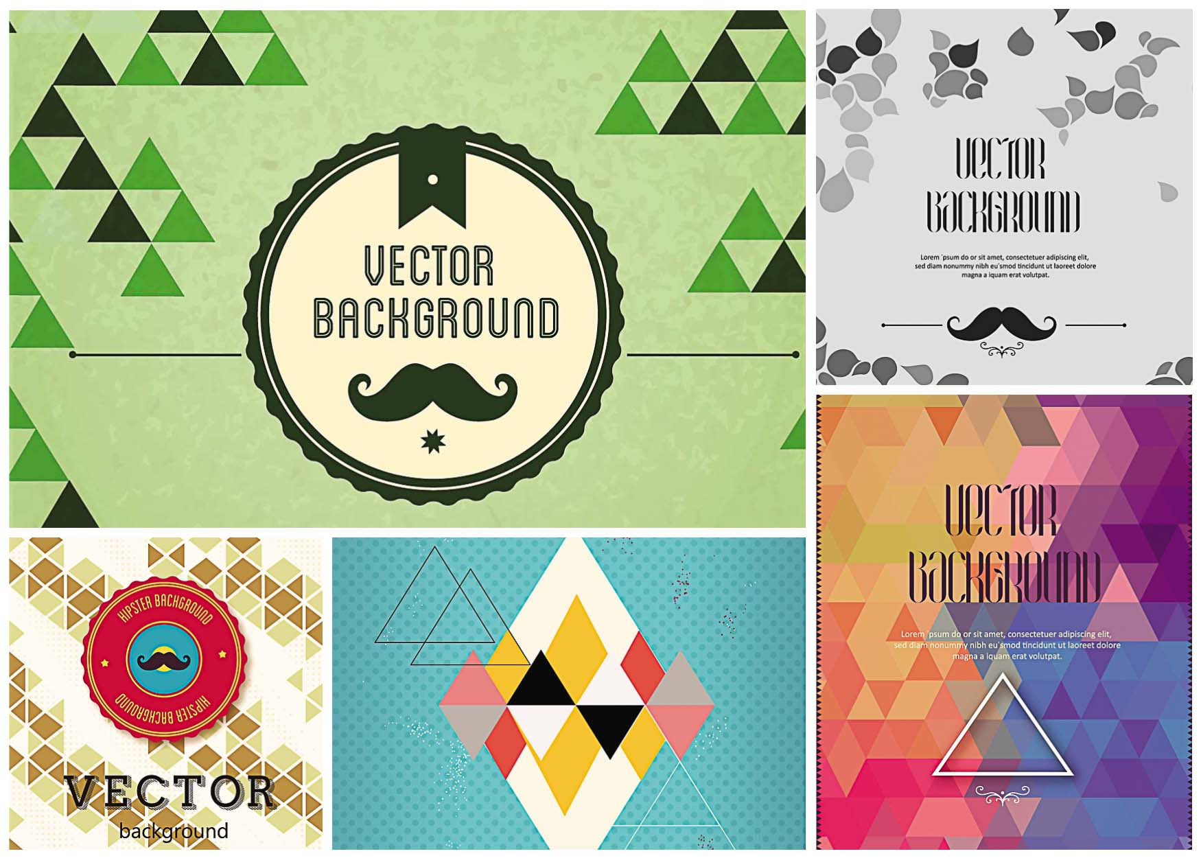 set of 5 hipster vector