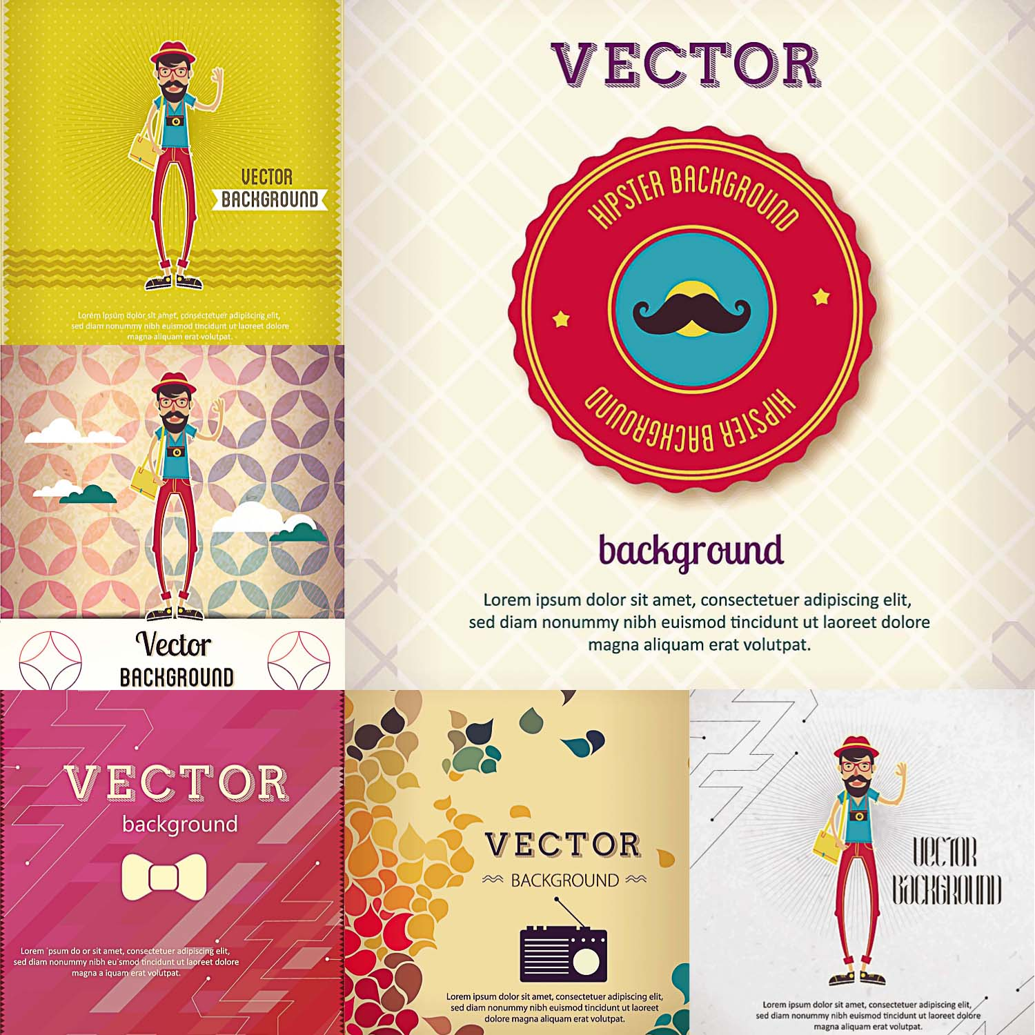 hipster postcard card background funny vector