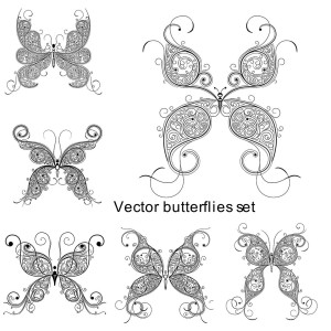 Set of 6 vector butterflies with floral design