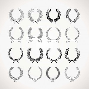 vintage monochrome wreath vector