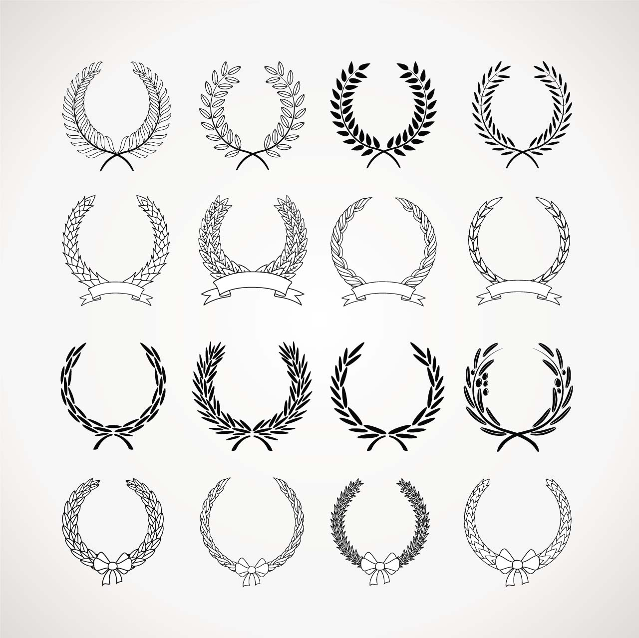Monochrome Wreaths Set Vector Free Download