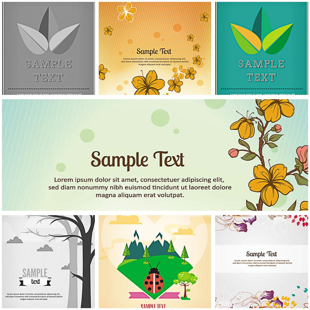 set of 7 nature vector with flowers