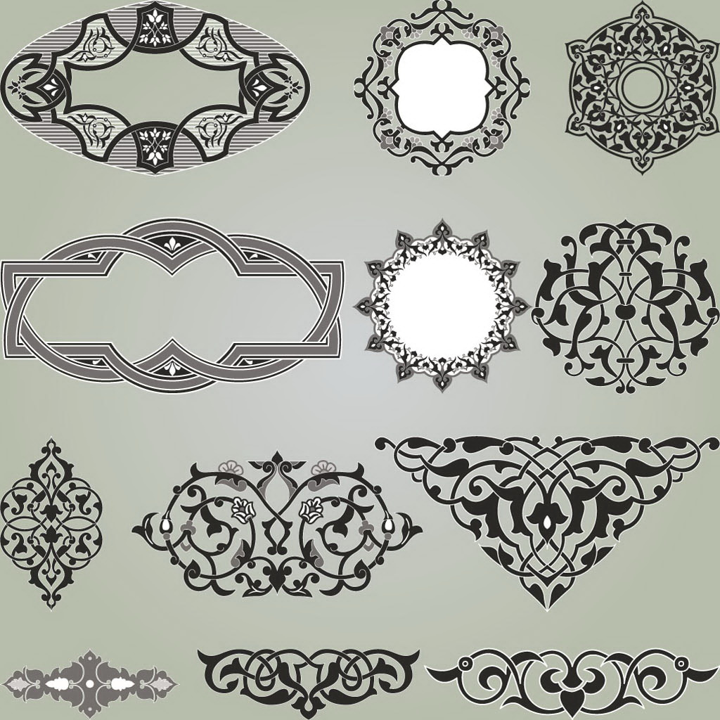 Set of decoration elements for design