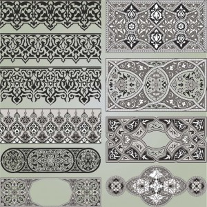 Classic geometrical and floral borders vector