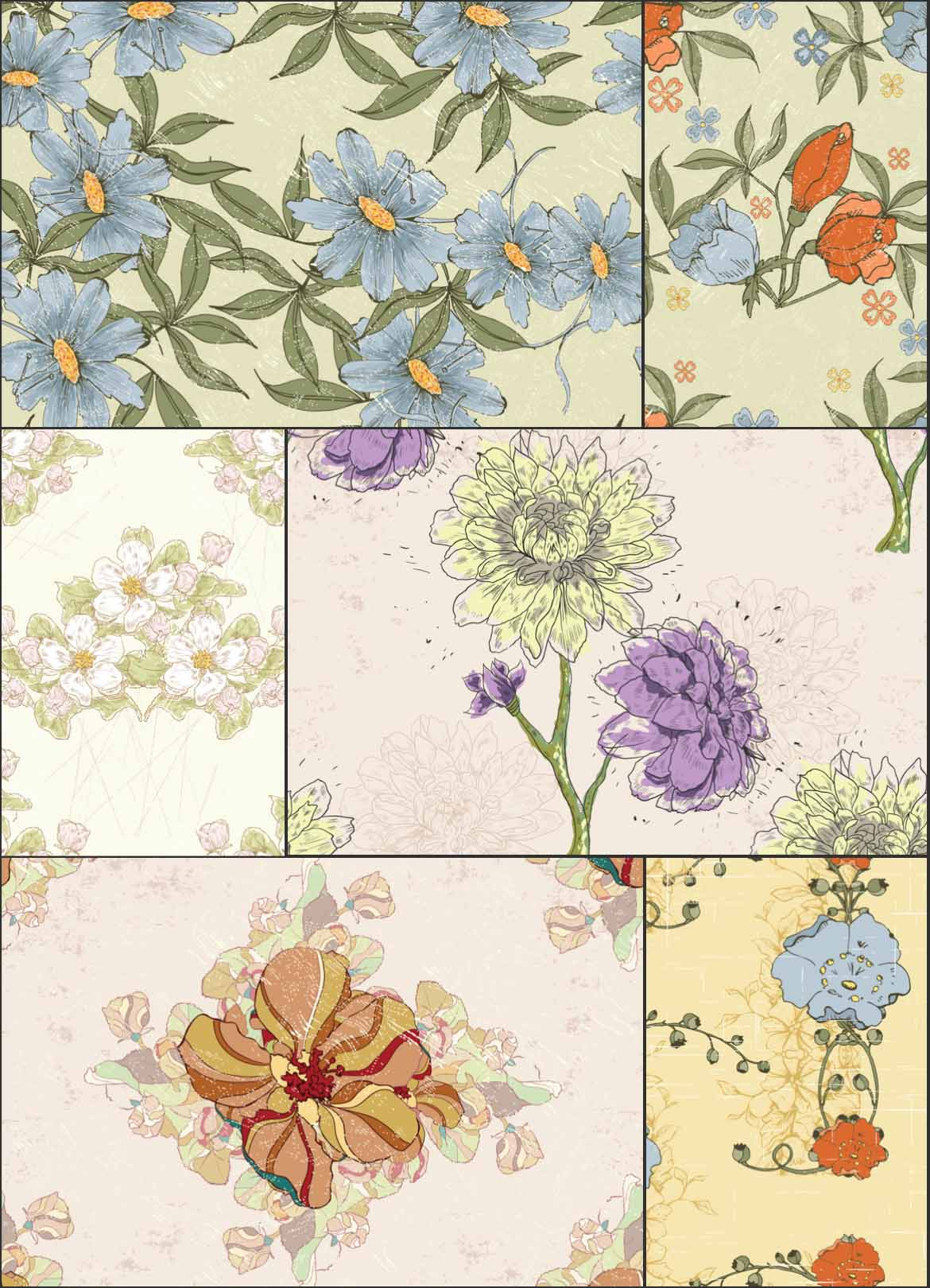 Set of 6 Seamless vetor Flower patterns