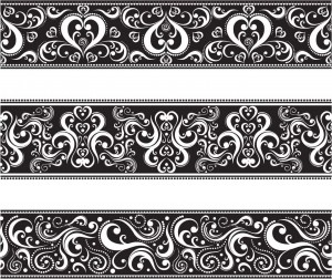 Seamless classic monochrome floral vector borders