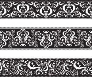 Seamless classic monochrome floral vector borders