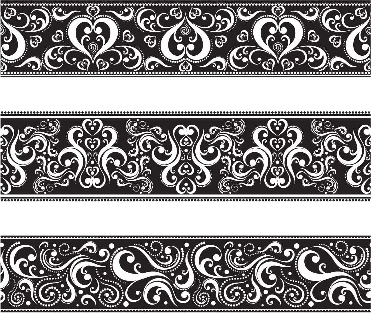 Seamless monochrome floral borders vector