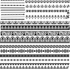 Geometrical and floral Seamless borders set
