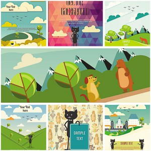 Funny animals set vector